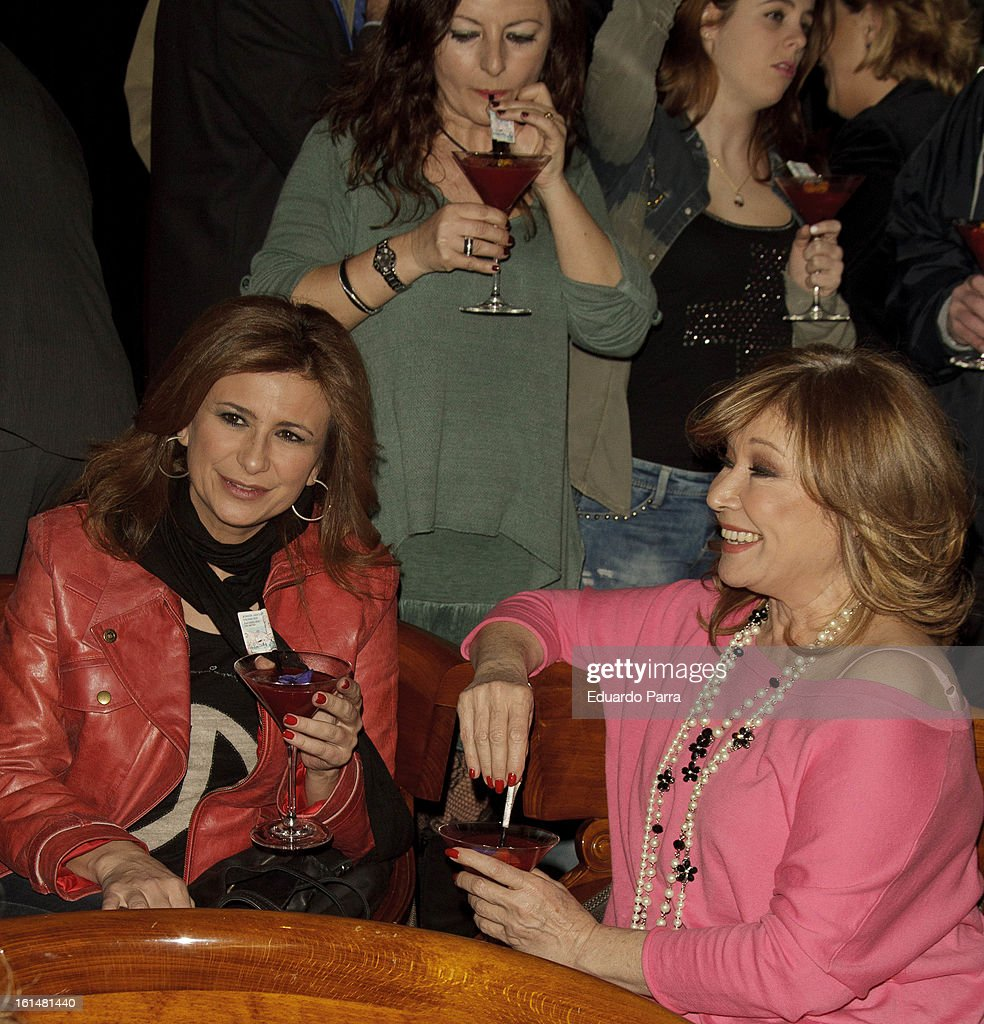 Mila Ximenez (R) attends Jorge Javier Vazquez's Golden Book party at Gran Melia Fenix hotel on February 11, 2013 in Madrid, Spain.