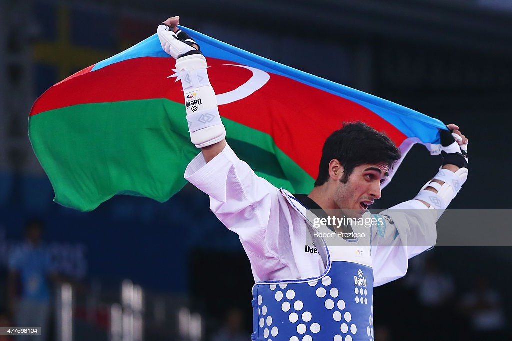 Milad Beigi Harchegani of Azerbaijan celebrates after winning the gold medal in the Men's Taekwondo -80kg final against Albert Gaun of Russia on day six of the Baku 2015 European Games at the Crystal Hall on June 18, 2015 in Baku, Azerbaijan.