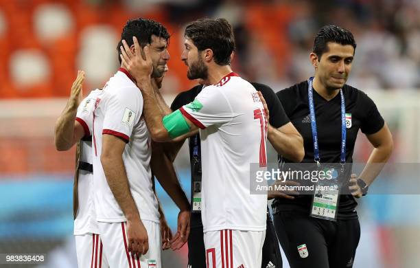 Milad Mohammadi of Iran cries after the 2018 FIFA World Cup Russia group B match between Iran and Portugal at Mordovia Arena on June 25 2018 in...
