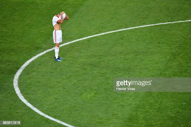 Milad Mohammadi of Iran reacts following the 2018 FIFA World Cup Russia group B match between Iran and Portugal at Mordovia Arena on June 25 2018 in...