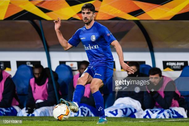 Milad Mohammadi of KAA Gent during the UEFA Europa League round of 32 second leg match between KAA Gent v AS Roma at Ghelamco Arena on February 27,...