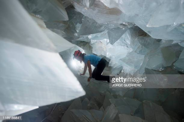 Milagros Carretero coordinating geologist of the giant geode of Pilar de Jaravia in Pulpi is pictured inside the geode on August 2 2019 The geode of...