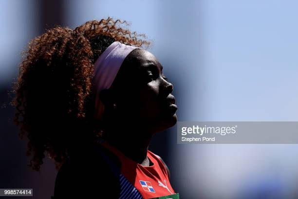 Milagros Duran of The Dominican Republic looks on ahead of heat 3 of the women's 4x400m relay on day five of The IAAF World U20 Championships on July...