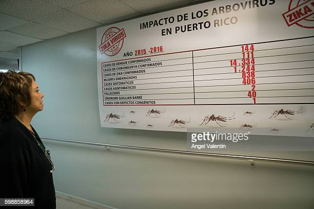 Milagros Gonzalez MD a pediatrician studies a chart displayed showing incidences of Zika in Puerto Rico displayed at the Concilio de Salud Integral...