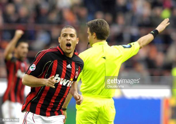 Ronaldo of AC Milan celebrates during the Serie A 2006/2007 28th round match between Inter of Milan and Milan played at the 'Giuseppe Meazza' in Milan