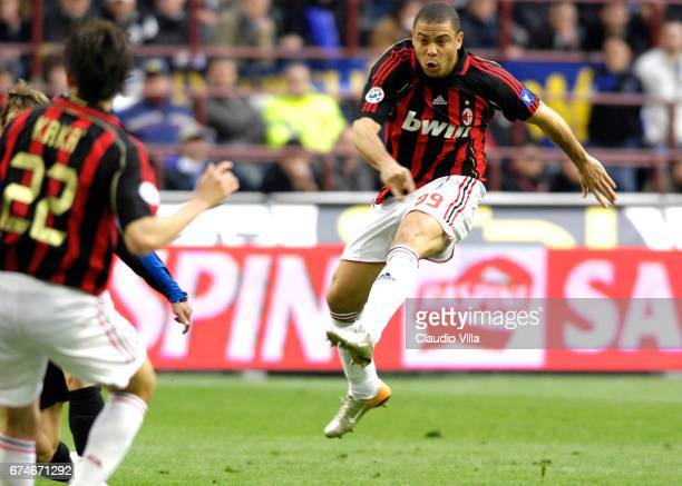 Ronaldo of AC Milan scores the goal during the Serie A 2006/2007 28th round match between Inter of Milan and Milan played at the 'Giuseppe Meazza' in...