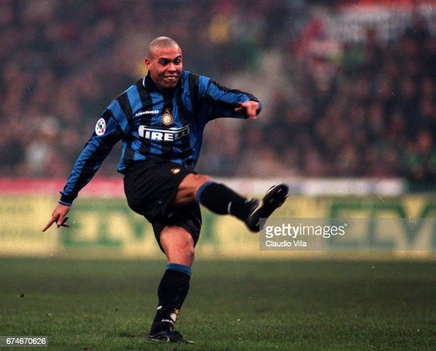 """Milan 22 November 1997: Ronaldo of Inter Milan scores the goal during the Serie A match between Inter Milan and Milan played at the """"Giuseppe Meazza""""..."""