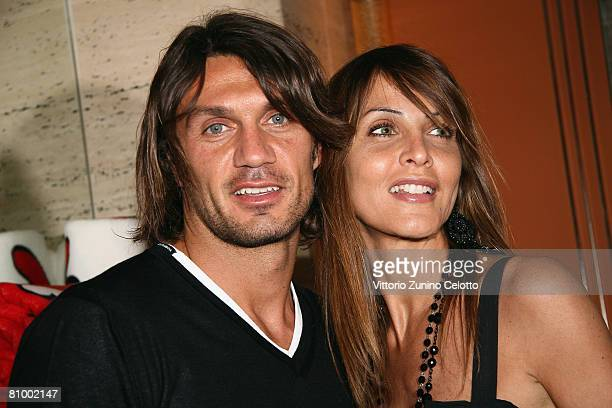 Milan AC defender Paolo Maldini and wife Adriana Fossa attend the Sweet Years Homewear Launch held at Park Hyatt Hotel on May 5 2008 in Milan Italy