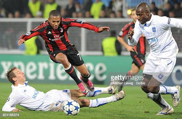Milan AC s Robinho during the UEFA Champions League soccer matchgroup g AJ Auxerre vs AC Milan at L'Abbe Deschamps stadiumin AuxerreFrance on...