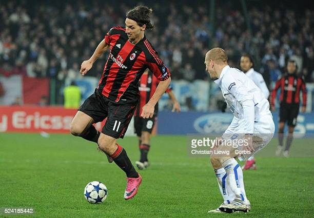 Milan AC s Zlatan Ibrahimovic during the UEFA Champions League soccer matchgroup g AJ Auxerre vs AC Milan at L'Abbe Deschamps stadiumin AuxerreFrance...