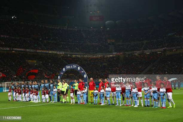 Milan and SS Lazio teams line up before the Serie A match between AC Milan and SS Lazio at Stadio Giuseppe Meazza on April 13 2019 in Milan Italy