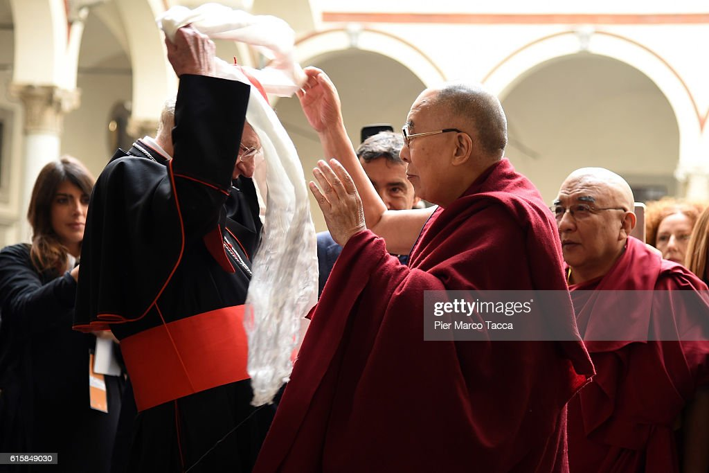 Milan Archibishop Angelo Scola welcomes Dalai Lama during a meeting with the Archbishop on October 20, 2016 in Milan, Italy. The Dalai Lama spiritual leader of Tibetan Buddhism, begins today the first of a three-day visit and spiritual meetings in Milan.