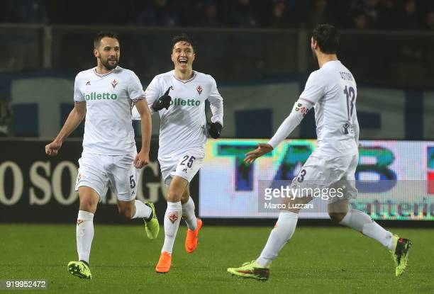 Milan Badelj of ACF Fiorentina celebrates with his teammate Davide Astori after scoring the opening goalduring the serie A match between Atalanta BC...