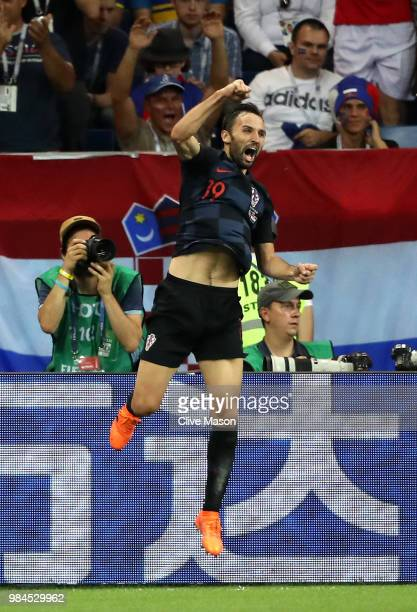 Milan Badelj of Croatia celebrates after scoring his team's first goal during the 2018 FIFA World Cup Russia group D match between Iceland and...