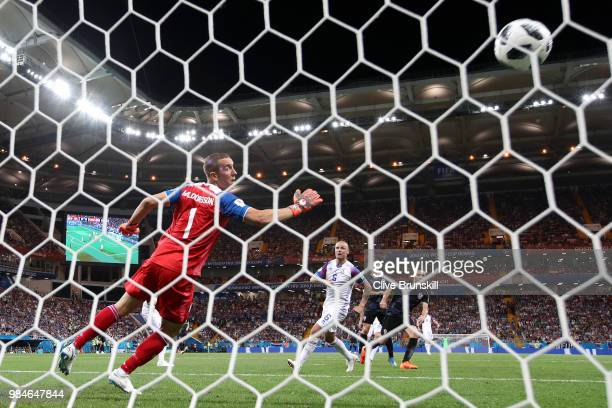 Milan Badelj of Croatia scores his team's first goal during the 2018 FIFA World Cup Russia group D match between Iceland and Croatia at Rostov Arena...