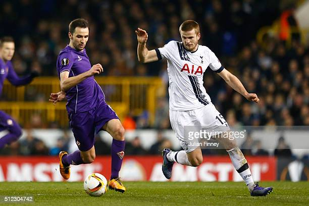Milan Badelj of Fiorentina and Eric Dier of Tottenham Hotspur compete for the ball during the UEFA Europa League round of 32 second leg match between...
