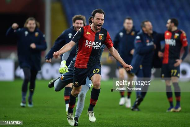 Milan Badelj of Genoa CFC celebrates after scoring the second goal of his team during the Serie A match between Genoa CFC and Hellas Verona FC at...