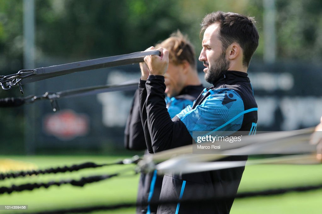 Milan Badelj of SS Lazio during the SS Lazio training session on August 10, 2018 in Marienfeld, Germany.