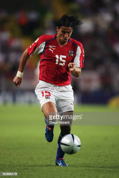 Milan Baros of Czech Republic runs with the ball during the UEFA Euro 2004 Group D match between Germany and Czech Republic at the Estadio de Jose...