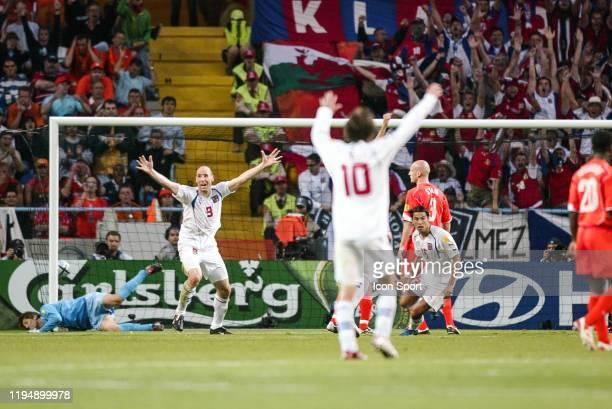 Milan BAROS of Czech Reublic celebrates his goal during the European Championship match between Netherlands and Czech Republic at Estadio Municipal...