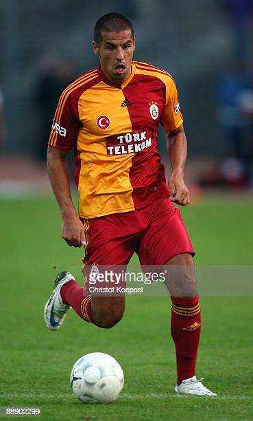 Milan Baros of Galasataray runs with the ball during the Zayon Cup match between Galatasaray Istanbuch and Wydad AC Casablanca at the Lorheide...