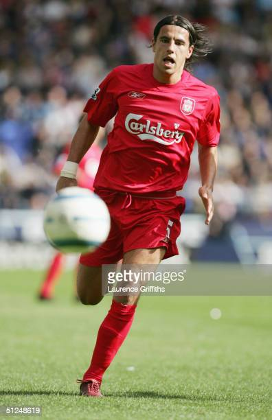 Milan Baros of Liverpool chases the ball during the Barclays Premiership match between Bolton Wanderers and Liverpool at The Reebok Stadium on August...