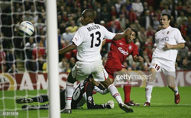 Milan Baros of Liverpool scores the second goal during the UEFA Champions League Group A match between Liverpool and AS Monaco at Anfield on...