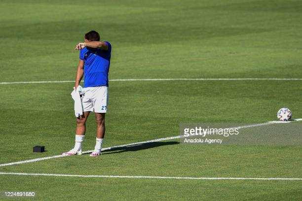 Milan Baros reacts as he says goodbye to the fans at Vitkovice Stadium in Ostrava, Czech Republic on July 5, 2020 before playing his last match as a...