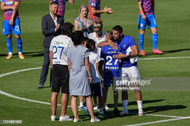 Milan Baros receives congratulations from his family at Vitkovice Stadium in Ostrava, Czech Republic on July 5, 2020 before playing his last game as...