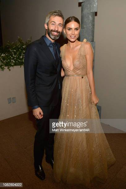 Milan Blagojevic and Nina Senicar attend the amfAR Gala Los Angeles 2018 at Wallis Annenberg Center for the Performing Arts on October 18 2018 in...