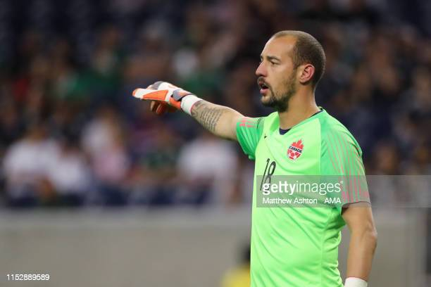 Milan Borjan of Canada during the 2019 CONCACAF Gold Cup Quarter Final match between Haiti v Canada at NRG Stadium on June 29, 2019 in Houston, Texas.