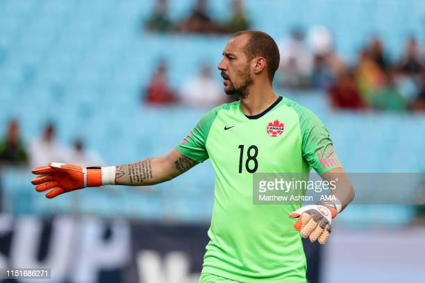 Milan Borjan of Canada during the Group A 2019 CONCACAF Gold Cup match between Canada v Cuba at Bank of America Stadium on June 23, 2019 in...