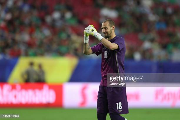 Milan Borjan of Canada gestures during the CONCACAF Gold Cup Quarterfinal match between Jamaica and Canada at University of Phoenix Stadium on July...