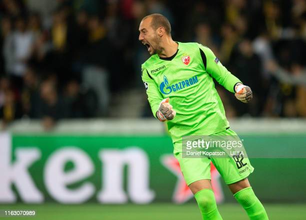 Milan Borjan of Crvena Zvezda celebrates the team's second goal during the UEFA Champions League Playoff match between BSC Young Boys and Crvena...