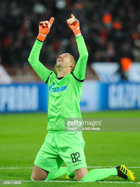 Milan Borjan of Crvena zvezda reaction after scored goal during the Group C match of the UEFA Champions League between Red Star Belgrade and...
