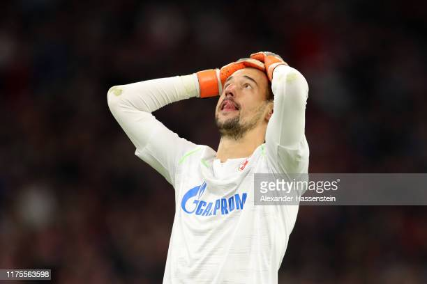 Milan Borjan of Crvena Zvezda reacts during the UEFA Champions League group B match between Bayern Muenchen and Crvena Zvezda at Allianz Arena on...