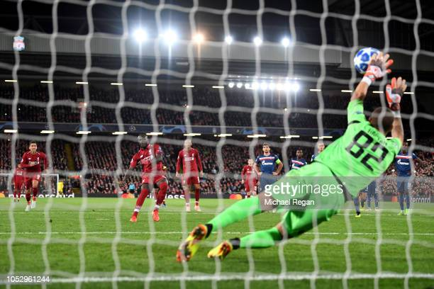 Milan Borjan of FK Crvena Zvezda saves a penalty from Sadio Mane of Liverpool during the Group C match of the UEFA Champions League between Liverpool...
