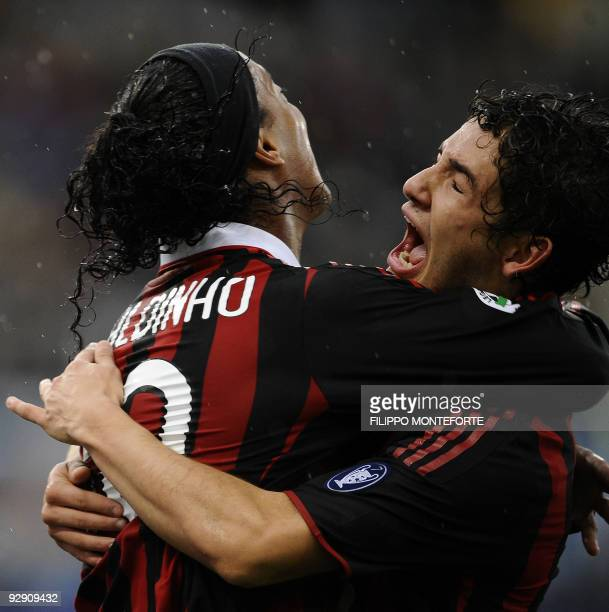 AC Milan Brazilian Pato celebrates with Teammate Brazilian Ronaldinho after scoring against SS Lazio during their Serie A football match in Rome's...