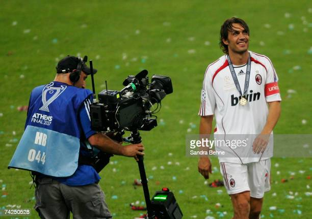 Milan captain Paolo Maldini celebrates following his teams 21 victory during the UEFA Champions League Final match between Liverpool and AC Milan at...
