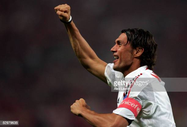 Milan captain Paolo Maldini celebrates his first goal during the European Champions League final between Liverpool and AC Milan on May 25 2005 at the...
