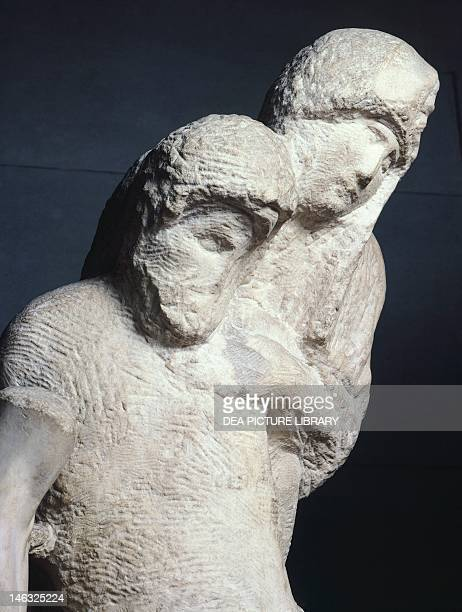 Milan, Castello Sforzesco, Civiche Raccolte D'Arte, Museo D'Arte Antica Rondanini Pieta, 1555-1564, by Michelangelo , marble sculpture, 195 cm...