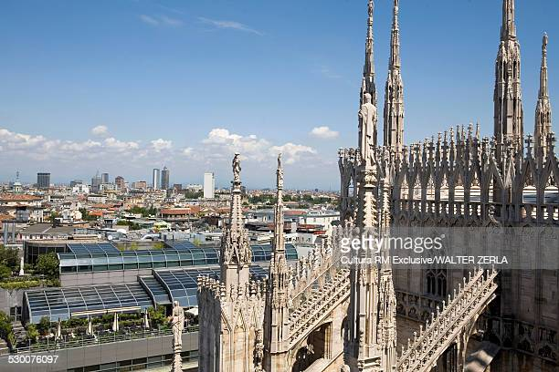 Milan cathedral and cityscape, Milan, Lombardy, Italy