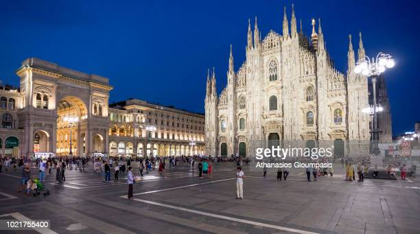 Milan Cathedral or Duomo di Milano and Galleria Vittorio Emanuele illuminated at night on August 08 2018 in Milan Italy