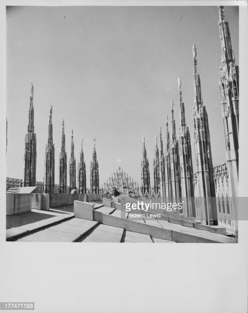 Milan Cathedral, the ornate, gothic cathedral church dedicated to Santa Maria Nascente, Milan, Italy, circa 1920-1960.