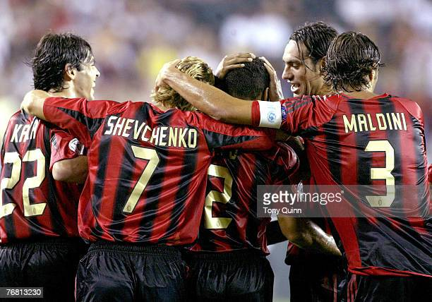 AC Milan celebrate Cafu's goal during Champions World Series game between AC Milan and Chelsea at Lincoln Financial Field Philadelphia Pennsylvania...