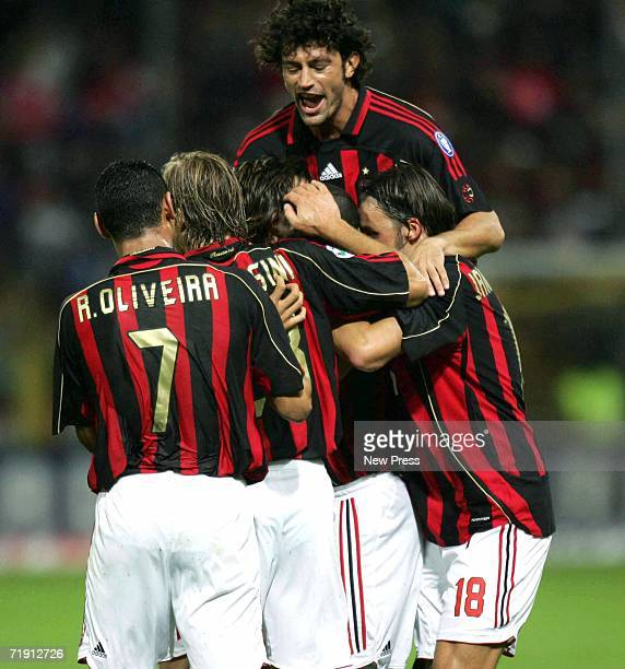 Milan celebrates after a goal by Seedorf against Parma during the Serie A match between AC Milan and Parma at Tardini Stadium September 17, 2006 in...