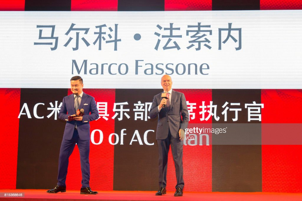 AC Milan CEO Marco Fassone (R) attends the 2017 AC Milan China Tour Press Conference and MoU Signing Ceremony with CNGEF on July 16, 2017 in Guangzhou, Guangdong Province of China.