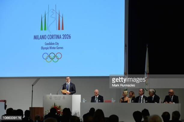 Milan City Mayor Giuseppe Sala addresses during the Milano Cortina 2026 Winter Olympic Games candidate city Presentation during the XXIII ANOC...