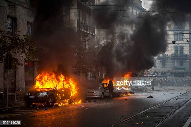Milan. Clashes against police during demonstration in downtown Milan on May 1, 2015 to protest against the Universal Exposition Milano 2015 that will...
