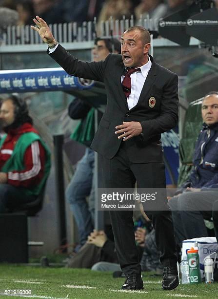 Milan coach Cristian Brocchi watches the action during the Serie A match between UC Sampdoria and AC Milan at Stadio Luigi Ferraris on April 17 2016...